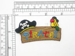 Pirates Sign Patch Iron On Embroidered Applique 2 7/8 x 1 1/2""
