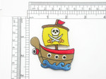 Pirate Ship Patch Embroidered Iron On Applique 2 3/8 x 2 5/8""