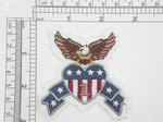 "Bald Eagle Denim Iron On Patch Applique Measures 3"" across x 2 3/4"" high approximately"