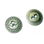 "Button Metal 5/8"" Flat Round  Metal - 6 Pack"
