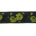 "Jacquard Ribbon 1 1/4"" Roses Yellow Per Yard"