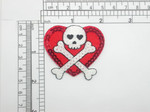 Heart with Skull Sequin Patch Iron On Patch Applique