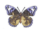 "Iron On Patch Applique - Sequin Butterfly 2 3/4"" Gold & Purple"