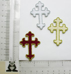 "Bordered Cross Patch 2"" (50mm)  Iron On Patch Applique"
