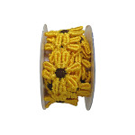 "Venise Lace 1"" Yellow & Brown Daisy 4 ft Roll"
