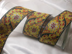 "Jacquard Ribbon 2"" (51mm) Floral Copper & Gold priced Per Yard"