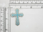 "Cross Sparkly Blue & Silver Iron On Patch Applique Measures 1 5/8"" tall x 1 1/4"" wide"