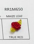 Mini Satin Ribbon Roses Maize Leaf  TRUE RED 25 Pack
