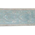 "Jacquard Ribbon 4 1/8"" Metallic Silver & Turquoise"
