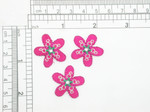 "3 x Flower Hot Pink Faux Gem Center Iron On Patch Applique  Measures 1"" tall x 1"" wide"