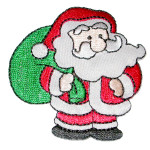 Santa with Green Sack Iron On Embroidered Applique