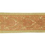 """Jacquard Ribbon 4 1/8"""" Metallic Gold & Dark Red"""