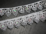 "Venise Lace 3/4"" (19mm) White with Bead Sequin Detail 5 Yards"