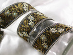 "Jacquard Ribbon 1 1/2"" Beaded Black & Tan Floral"