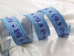 "Jacquard Ribbon 1 3/8"" Beaded Blue & Metallic Silver"