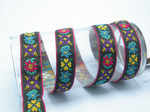 "Boho Jacquard Ribbon 1"" (25mm) Multi Floral Black Pink Border 5 Yards"