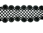 "Venise Lace 2 7/8"" (73mm) Galloon Rose Lattice Black Priced Per Yard"