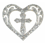 Iron On Patch Applique Cross in Heart Sparkly Metallic Silver