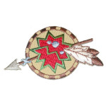 Iron On Patch Applique - Native American Symbol with Spear