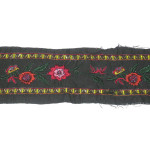"Embroidered Trim 3"" Black with Beaded Rose Per Yard"