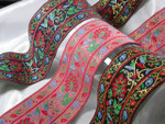 "Jacquard Ribbon 2 1/2"" Trivine Floral *Colors* Per Yard"