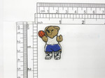 "Basketball Bear Patch Iron On Embroidered Applique 1 1/2"" x 1"" (38mm x 25mm)  Fully Embroidered"