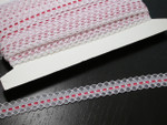 "Flat Lace 5/8"" (17mm)  White & Red Poly 30 Yards"