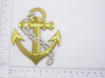 Anchor with Chain Metallic Gold Iron On Patch Applique