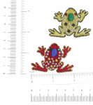 Frog Gem Eye Iron On Patch Applique *Colors*