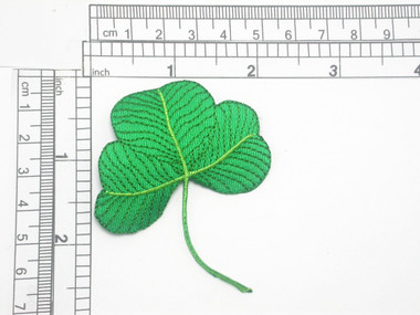 """Shamrock Patch Embroidered Iron On Applique 2 7/8"""" high x 2 1/4"""""""