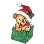 Christmas Bear in Gift Box Iron On Patch Applique