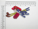 "Golf Patch Cap Club Gloves Iron On Embroidered Applique  Mostly Embroidered Tartan Pattern Backing Measures 3 3/4"" high x 4 3/8"" wide"