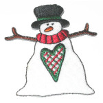 Iron On Patch Applique - Snowman Rustic Heart