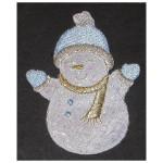 Iron On Patch Applique - Snowman White Blue Sparkle