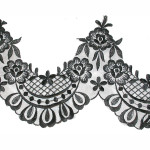 "Embroidered Organza 7 3/4"" (197mm) Black Scalloped Per Yard"