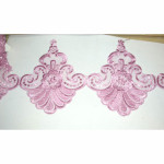 "Embroidered Organza 7 1/2"" Dusky Pink Floral Per 3 Yards"