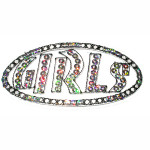 Iron On Patch Applique - Girls in Sequins Black