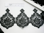 "Embroidered Organza 6 1/4"" (159mm) Black Scalloped per yard"