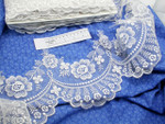 "Embroidered Organza 7"" (177.8mm) White Scalloped Per Yard"