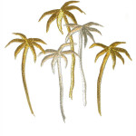 Iron On Patch Applique - 5 Palm Trees Gold Silver Metallic