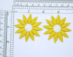 "2 x Daisy Yellow 12 Petal Iron On Patch Applique Fully Embroidered Measures 2"" across & high"