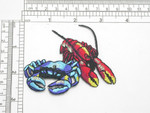 "Crab & Lobster Iron On Patch Embroidered Applique 3 1/2"" x 2 1/2"" (88mm x 63mm)"