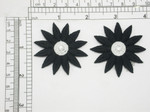 "2 x Daisy Black 12 Petal Iron On Patch Applique  Measures 2"" across and high Fully Embroidered"