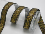 "Jacquard Ribbon 1"" Black Metallic Gold Diamonds 6 Yards"