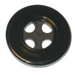 "Button 1 9/16"" Flat 4 Hole Black Per Piece"