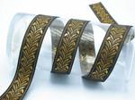 Metallic gold Feather plume jacquard ribbon