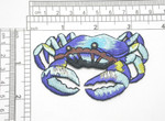 "Blue Crab Embroidered Iron On Patch Applique Fully Embroidered  Measures 3 1/4"" across x 2"" high"