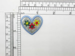 Floral Heart Patch - Sparkly Embroidered Iron On Applique