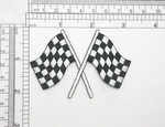 """Checkered Flag 3""""x 2"""" iron On Embroidered Applique Fully Embroidered in Rayon Thread  Measures 3"""" across x 2"""" high"""