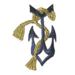 Anchor Gold Rope Tassel Iron On Patch Applique